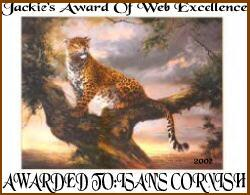 Web Excellence Award For a Animal Site from Jackie